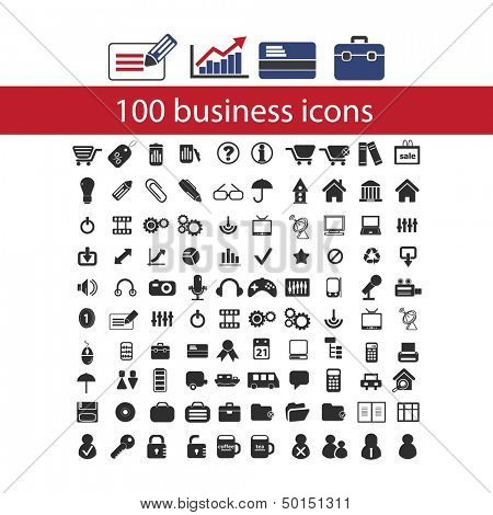 100 business, management icons set, vector