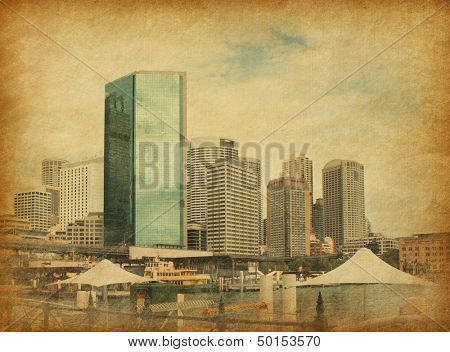 Circular Quay in retro style.  Circular Quay is a location in Sydney, New South Wales, Australia on the northern edge of the Sydney central business district on Sydney Cove