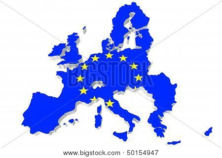 Map Of European Union And Eu Flag
