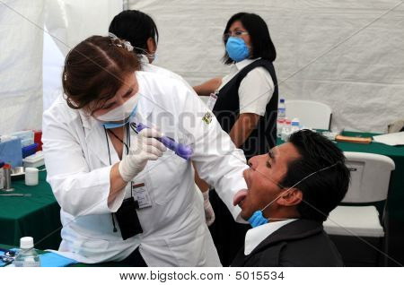 Flu Patient Inspected For Influenza