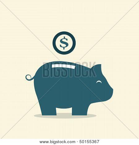 Vector Image Of An Piggy Bank
