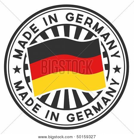 Stamp With Flag Of The Germany. Made In Germany.