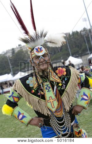 American Indian Elder At Ucla Pow Wow