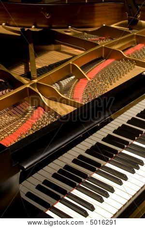 Grand Piano With Cover Open