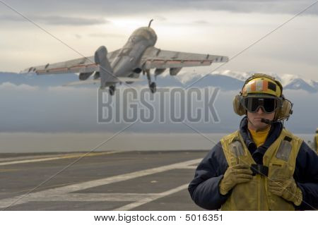 Ea-6 Prowler Taking Off Of Aircraft Carrier
