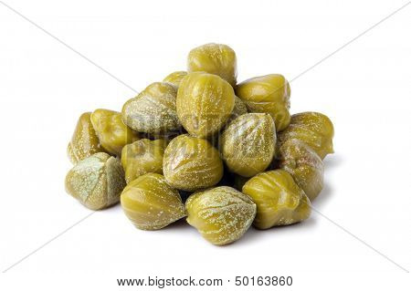 heap of capers on white background