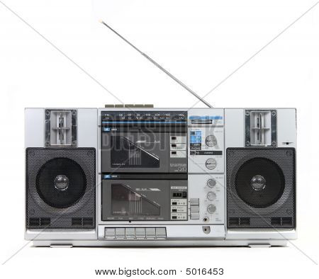 Front View Of A Vintage Boom Box Cassette Tape Player