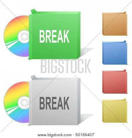 Break. Box with compact disc. Raster illustration. Vector version is in my portfolio.