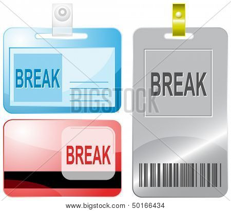 Break. Id cards. Raster illustration.