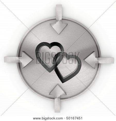 3D Graphic Of A Decorative Two Hearts Symbol On Metallic Label
