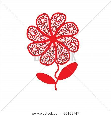 Elegant Flower Greetings Happy Valentine's Day, Recognition, Design Element, Isolated, Vector