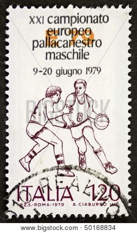 ITALY - CIRCA 1979: a stamp printed in Italy celebrates Italian basketball championship showing image of two players. Italy, circa 1979