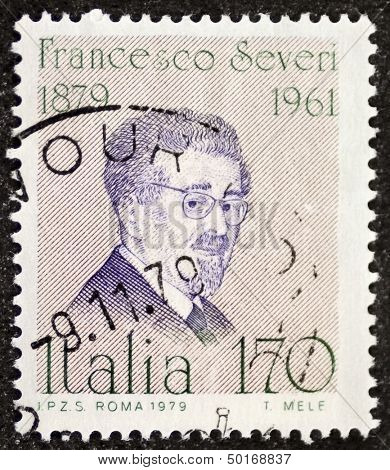 ITALY - CIRCA 1979: a stamp printed in Italy celebrates Francesco Severi (1879 - 1961), famous Italian mathematician, remembered for his contributions in algebraic geometry. Italy, circa 1979