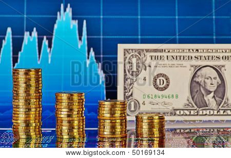 Downtrend Financial Chart, One-dollar Banknote And Stacks Of Golden Coins. Selective Focus