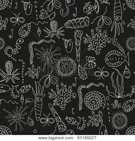 Seamless sea plankton pattern