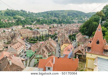 Sighisoara Medieval Fortress Aerial View