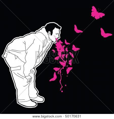 man puking pink butterflies
