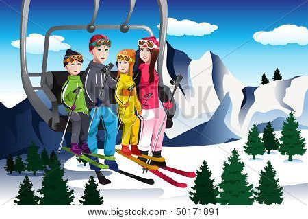 Family Going Skiing Sitting On A Ski Lift