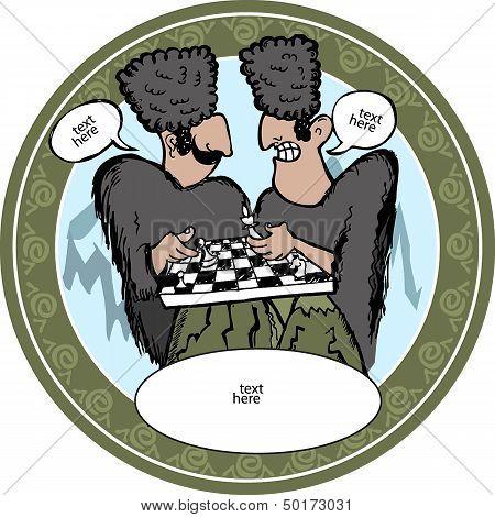 Georgian men playing chess