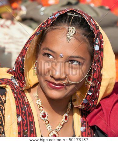 An Unidentified Girl In Colorful Ethnic Attire Attends At The Pushkar Fair. Pushkar, Rajasthan, Indi