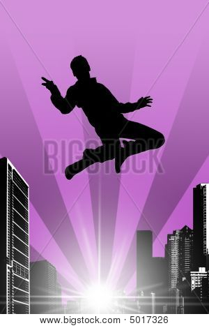 Silhouette Of A Jumping Man