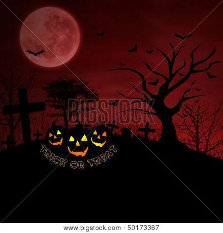 Background Of Red Halloween Pumpkin At Graveyard