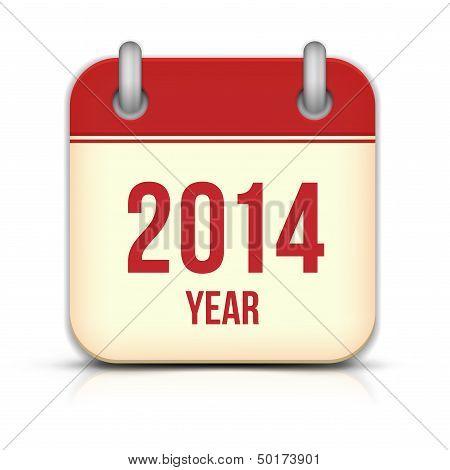 2014 Year Vector Calendar App Icon With Reflection