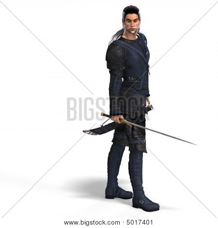 Fantasy Style Fighter With Sword. With Clipping Path