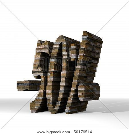 3D Render Of A Strong Discount Sign  Built Out Of Stones