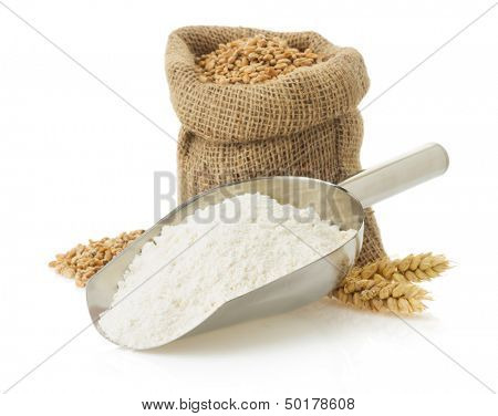 wheat flour and bread isolated on white background