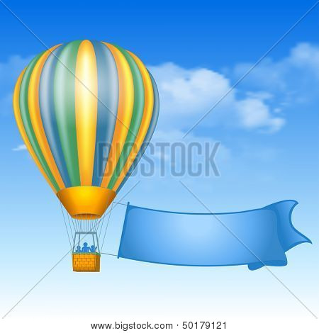 Vintage air balloon and message on banner soaring in the sky with clouds.