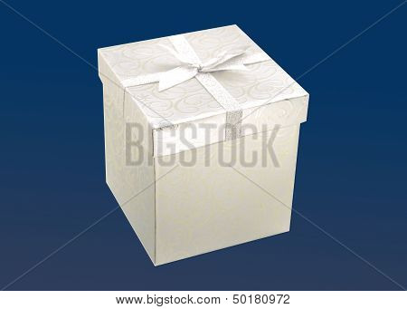 Silver Gift On Blue Background