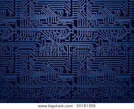 Vector blue circuit board background