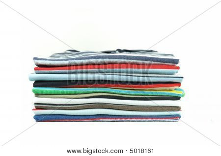 Stack Of Cross-striped Colorful T-shirts