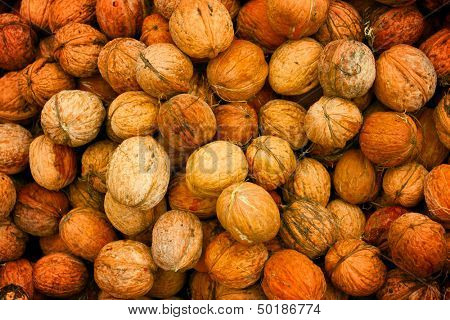 abstract natural background with walnuts