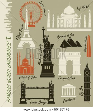 Famous World Landmarks - Set of of world landmarks, including Statue of Liberty, Taj Mahal, Triumphal Arch and Eiffel Tower
