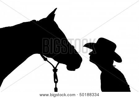 Silhouette of a girl in a cowboy hat with her horse, nose to nose - black on white background