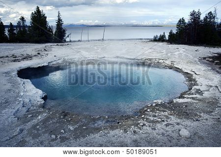 Geyser Basin And The Lake