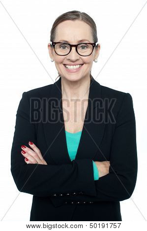 Bespectacled Woman Posing Confidently