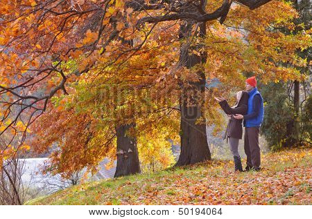 Young couple is walking in the forest golden autumn