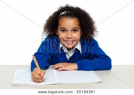 Young Girl Writing Copying Notes From The Whiteboard