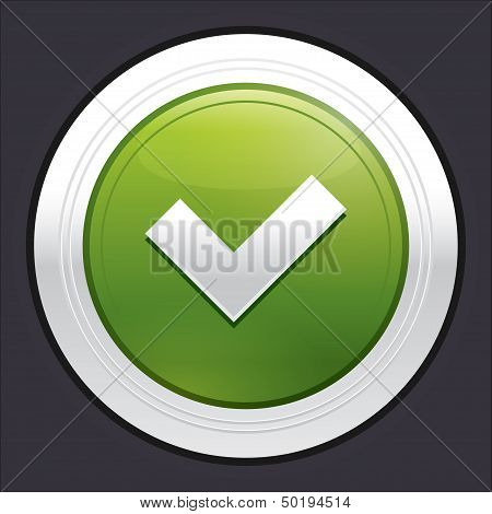 Yes button. Ok icon. Vector green sticker.