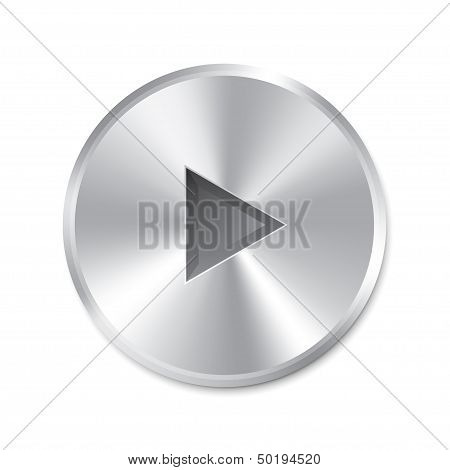 Realistic metallic Play Button (round). Isolated.