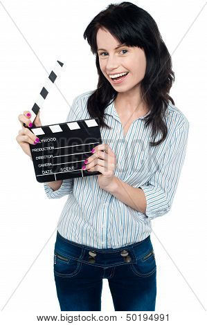 Joyous Woman With Clapperboard