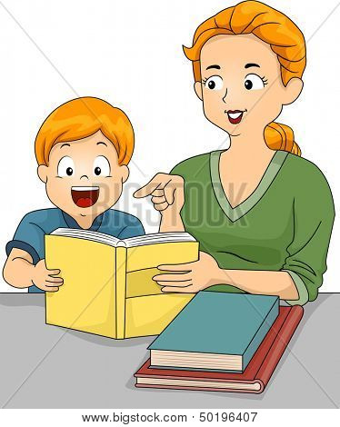 Illustration of a Caucasian Mother Helping Her Son with His Homework