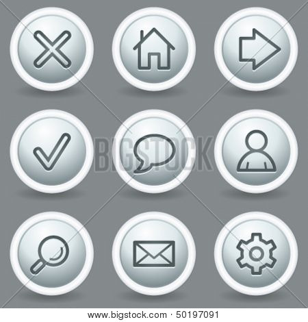 Basic web icons, circle grey matt buttons