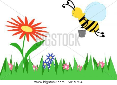 The Bee Collects Honey