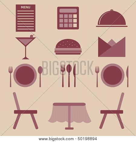 Set Of Restaurant Color Icons