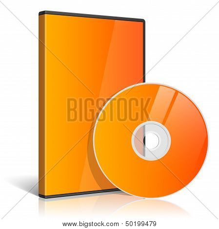 Orange Realistic Case for DVD Or CD Disk with DVD Or CD Disk