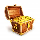 stock photo of chest  - 3d golden treasure chest - JPG